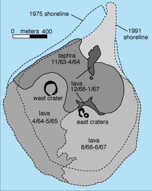 Mapa estructural de la isla de Surtsey
