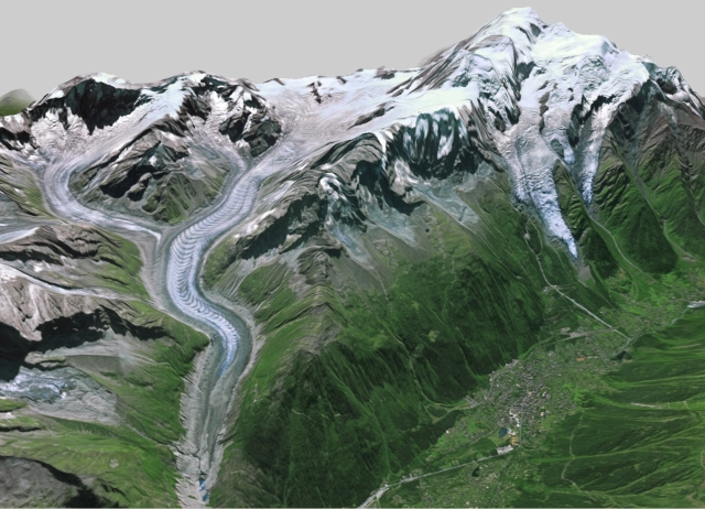 Vista tridimensional de la vertiente francesa del macizo del Mt Blanc. A la izda., la Mer de Glace, a la dcha, el glaciar de Bossons bajo el domo del Mt Blanc, abajo, Chamonix.