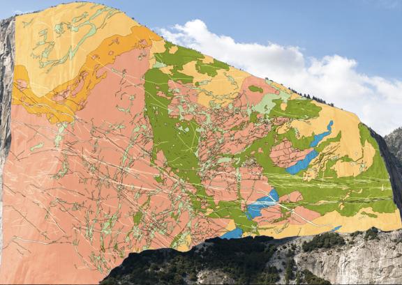 Mapa geológico de El Capitán, Yosemite Valley. FUENTE: news.nationalgeographic.com