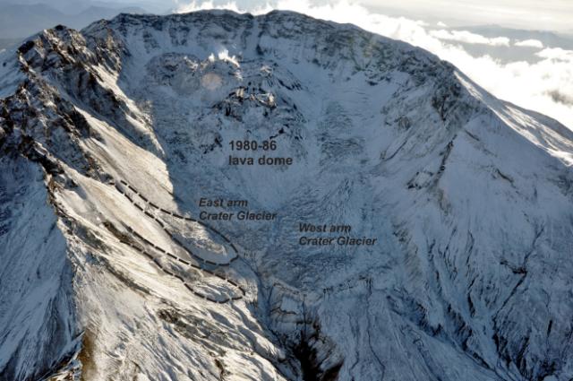 Unión de las dos lenguas glaciares rodeando los domos del cráter en 2009. FUENTE: USGS.