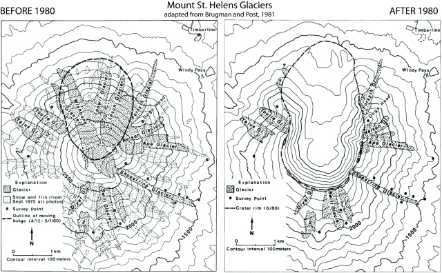 Extensión de las glaciares del monte ST. Helens antes y después de la erupción de 1980. FUENTE: USGS.